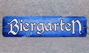 Metal Sign BIERGARTEN beer garden German bar brew pub hall watering hole blue