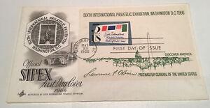 USA 1966 Sipex Philatelic Minisheet Art craft FDC Washington Machine Cancel Nice