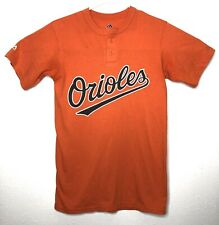 Majestic Orioles Mens Small Henley Tshirt Orange #7 Short Sleeve A7
