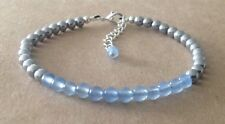Silver Plated, Friendship Bracelet Brazilian Aquamarine+Silver Hematite Beaded,