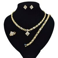 "#9 HUGS & KISSES Necklace With Bracelet 18"" Xo Earrings, (Ring size 9) 18k GF"
