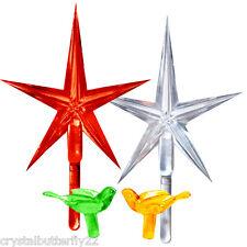"""Vintage Ceramic Christmas Tree 2 LARGE Stars Red & Clear 2-1/2"""" wide M +* BONUS*"""