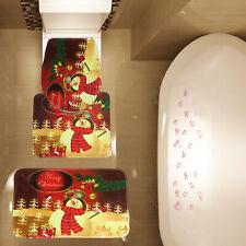 3 Piece Christmas Lovely Snow Man Bathroom Mat Set Contour Mat Toilet Cover