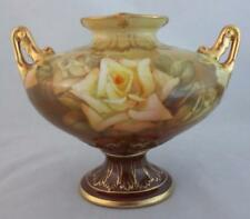 Antique ROYAL BONN Germany PORCELAIN URN VASE with ROSES Gilded Handles