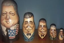 Us President Russian Nesting Dolls Set of 5 Clinton Bush Reagan Carter Ford
