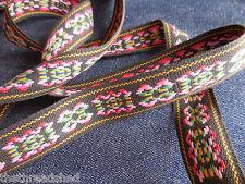 BTY Vintage Hippie Fabric Trim Retro Mod Tribal Black Pink Green Yellow 1in Wide