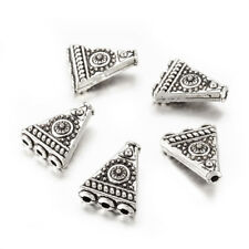 5pcs Tibetan Alloy Triangle Metal Beads Carved 1/3 Hole Loose Spacer Silver 17mm