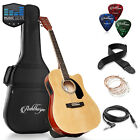 OPEN BOX - Full-Size Cutaway Thinline Acoustic-Electric Guitar w Bag