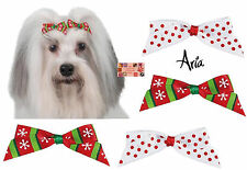 "48 -Christmas HOLIDAY DOG BARRETTE BOW""Candy Cane""Snowflake Grooming HAIR RIBBON"