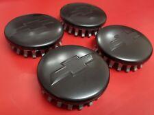 "Chevy CENTER CAPS MATTE BLACK Tahoe Suburban Silverado 2014-2017 3.25"" 83mm 4pcs"