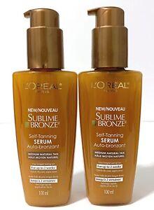 2X L'Oreal Paris Sublime Bronze Self-Tanning Serum Medium Natural Tan 100ml New