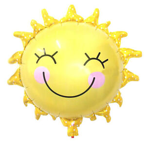 Yellow Sun Smiling Face Shape Foil Helium Balloon Wedding Party Birthday LT
