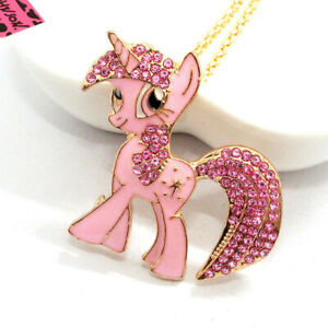 Hot Betsey Johnson Pink Enamel Cute Horse Crystal Animal Pendant Chain Necklace