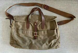 J. Crew Abingdon Waxed Cotton Canvas Leather Crossbody Messenger Bag