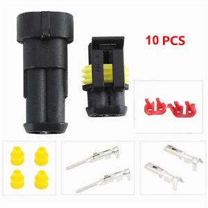 2 Pin Automotive Plug Pair for Motorbike Car Flame Retardant & Water Proof 10Set