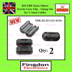 2 TDK Black Clip On Clamp RFI EMI Noise Filters Ferrite Core For 5mm UK Seller