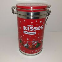 HERSHEY'S KISSES-MILK CHOCOLATE- RED TIN CANISTER-GREAT VIVID COLORS-MUST SEE