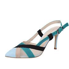 women's shoes GUIDO SGARIGLIA 10 (EU 40) pumps blue beige suede BZ316-D