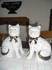 2 Staffordshire pottery cats 7 inch