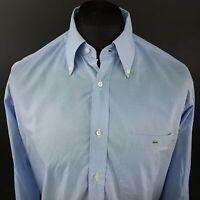 LACOSTE Mens Shirt 42 (LARGE) Long Sleeve Blue Regular Fit No Pattern Cotton