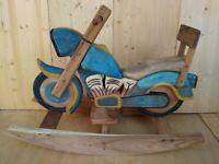 MOTO CHOPPER tipo Harley Davidson cavallo DONDOLO legno fatto a mano