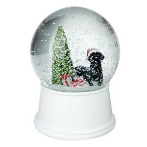Heaven Sends Noir Chien Et Arbre Musical Boule à Neige - Beau Chien Noël