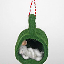 Pin Felt Needle Felted Collectible Sleeping White Baby Mouse in Green Felt Cup