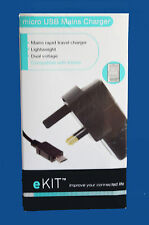 eKIT MICRO USB red cargador DUAL voltaje UK enchufe para KINDLE - nuevo