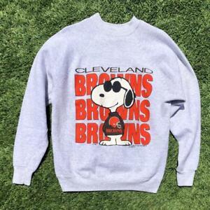 VTG 80s Artex Cleveland Browns Snoopy Peanuts Cartoon NFL Football Sweat Shirt L