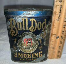 ANTIQUE SHORT TIN LITHO BULL DOG SMOKING TOBACCO VERTICAL POCKET CAN SAMPLE SIZE