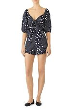 The Fifth Label Lagoon Polka Dot Print Romper Puff Sleeve V-Neck Tie Front
