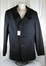 Mens Wool Blend Coat Charcoal Gray Black Trim Cockpit USA Medium Macys