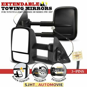 Electric Black Extendable Towing Mirrors for Toyota Land Cruiser 100 1998-2007