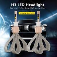 2x 80W 11000LM H3 LED Headlight Conversion Kit Fog Light Bulbs Dual Color Globes