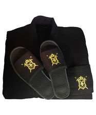 Luxury Mens Spa Bath Robe, with Matching Non-slip Slippers (Foot Size 10-14)