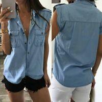 ZANZEA Women Plus Size Sleeveless Button Down Shirt Blouse T-Shirt Tee Denim Top