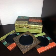 Port to Port Painted Wooden Box w/ Matching Metal Candle Pillar Plates 4 Pc Set