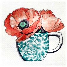 FLORAL TEACUP NEEDLEPOINT KIT ~ VERY PRETTY! by DIMENSIONS