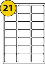 50 Sheets 21 Labels Per Sheet Size 63.5 x 38.1mm MS Word L7160