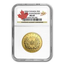 2004 Canada 1 oz Gold Maple Leaf MS-69 NGC (25th Anniv) - SKU #1272