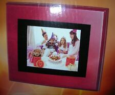 LCD Digital Photo Frame Cherry 9x7x2 Speakers Clock Calendar Pictures w/remote