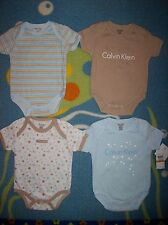 Calvin Klein Bodysuits Baby Boys 4pc Set Size 0-3 Mos Layette Infant Star $42