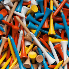 100 MIXED COLOUR WOOD / WOODEN GOLF TEES (54mm Medium) + Free Golf Ball Markers