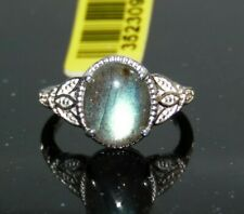 AWESOME MALAGASY LABRADORITE RING  .925 STERLING SILVER    4CTW   SZ 7