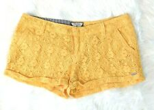 Volcom 5 Yellow Stone Roses Lace Cuffed Booty Shorts Women's Junior's Summer