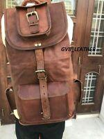 Mens Leather Rucksack Waxed Hide Backpack Laptop Bag Messenger Shoulder Large