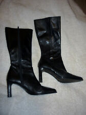BLACK CARVELA LEATHER MID CALF HIGH HEELS LADIES SIZE 37 US 6.5 1/2 ITALY BOOTS