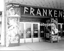 017 FRANKENSTEIN MEETS THE WOLF MAN THEATRE MARQUEE LON CHANEY JR PHOTO