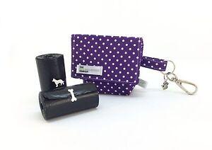 Poo Bag, Purple Polka Dot,  Dog Treat Bag / Dog Poo Bag Carrier, Spotty
