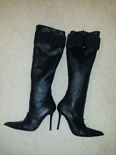 ALBERTO VENTURINI WHY Italian Black Leather Stiletto Knee-High Boots Sz.37 (6,5)